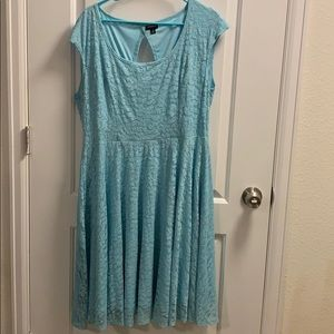 Light Blue Lace Skater Dress